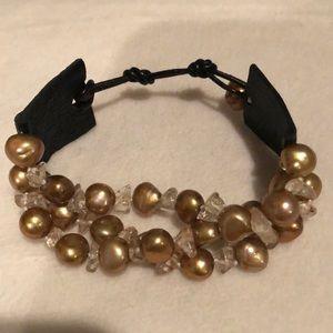 Jewelry - Genuine gold baroque freshwater pearls bracelet